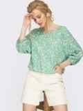 Зеленая блузка с цветочным принтом  54469, фото 2