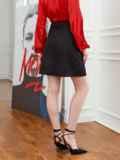 Черная юбка-трапеция из мемори-коттона с карманами 53459, фото 2