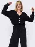Вязаный костюм черного цвета из кофты и брюк 52953, фото 2
