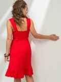 Красное платье из льна на широких бретелях с воланом по низу 46655, фото 2