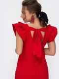 Красное платье приталенного кроя с V-вырезом по спинке 46652, фото 3
