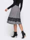 Серая юбка-полусолнце с кружевом по низу 50580, фото 2