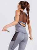 Майка для фитнеса с эластичной сеткой серая 44635, фото 2