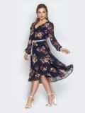 Шифоновое платье с цветочным принтом темно-синее 21006, фото 2