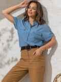 Голубая блузка прямого кроя из хлопка 49119, фото 2
