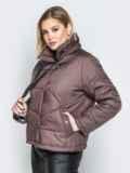 Коричневая куртка на кнопках с воротником-стойкой 20065, фото 2