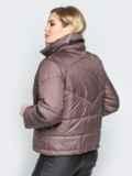 Коричневая куртка на кнопках с воротником-стойкой 20065, фото 3