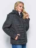 Черная демисезонная куртка батал с съемным капюшоном 14711, фото 2