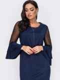 Платье батал с воланами на рукавах тёмно-синее 52110, фото 2