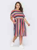 Платье в полоску с расклешенной юбкой и коротким рукавом. 53970, фото 2