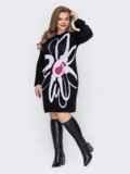 Вязаное платье батал с узором контрастного цвета черное 52928, фото 2