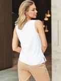 Белая блузка без рукавов из хлопка 54834, фото 3