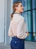 Бежевая рубашка с воротником-стойкой 39802, фото 2