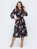 Чёрное платье с принтом и резинкой по талии 45850, фото 2