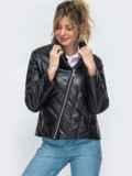 Демисезонная куртка из экокожи чёрная 45419, фото 2