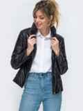 Демисезонная куртка из экокожи чёрная 45419, фото 3