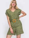 Комплект цвета хаки в горох из блузки и шорт 49140, фото 1
