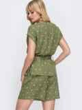 Комплект цвета хаки в горох из блузки и шорт 49140, фото 3