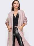 Oversize кардиган с накладными карманами розовый 15827, фото 2