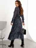 Расклешенное платье с принтом и воланом по низу графитовое 52469, фото 6