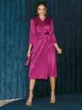 Атласное платье на запах розового цвета 52126, фото 2