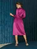 Атласное платье на запах розового цвета 52126, фото 5