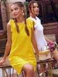Желтое платье из прошвы с открытой спинкой 54087, фото 3