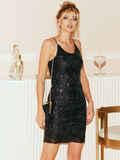 Черное платье на узких бретелях расшитое пайетками 52141, фото 1