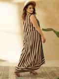 Длинное платье батал цвета хаки в полоску  53756, фото 2