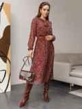 Шифоновое платье с принтом и воротником-аскот бордовое 52103, фото 2