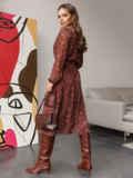 Шифоновое платье с принтом и воротником-аскот бордовое 52103, фото 3