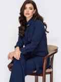 Удлиненная рубашка с супатной застёжкой темно-синяя 52096, фото 4