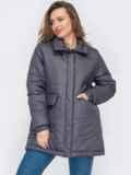 Демисезонная куртка прямого кроя графитового цвета 53070, фото 2