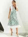 Расклешенное платье из штапеля цветочным принтом мятное 54023, фото 3