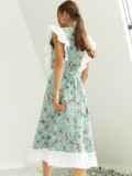 Расклешенное платье из штапеля цветочным принтом мятное 54023, фото 5