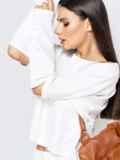 Брючный костюм белого цвета с цельнокроеным свитшотом 40710, фото 5