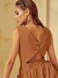 Расклешенное платье с оригинальным вырезом по спинке 54031, фото 3