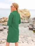 Зеленое льняное платье-рубашка прямого кроя с пуговицами 49565, фото 2