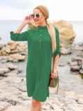 Зеленое льняное платье-рубашка прямого кроя с пуговицами 49565, фото 3