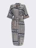 Платье-рубашка с принтом и закругленным низом бирюзовое 54134, фото 7