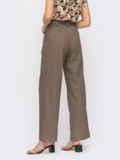 Коричневые широкие брюки с защипами по переду 54448, фото 2
