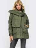 Демисезонная куртка цвета хаки с шарфом 54981, фото 2