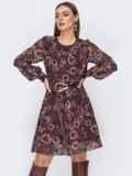 Шифоновоеплатьекоричневогоцветасцветочнымпринтом 52692, фото 2