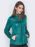 Зелёная куртка с воротником-стойкой и карманами 20288, фото 2