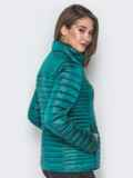 Зелёная куртка с воротником-стойкой и карманами 20288, фото 3