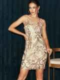 Бежевое платье на узких бретелях расшитое пайетками 52144, фото 2