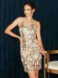 Бежевое платье на узких бретелях расшитое пайетками 52144, фото 3