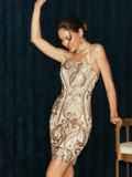 Бежевое платье на узких бретелях расшитое пайетками 52144, фото 4