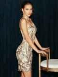 Бежевое платье на узких бретелях расшитое пайетками 52144, фото 5
