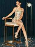 Бежевое платье на узких бретелях расшитое пайетками 52144, фото 6